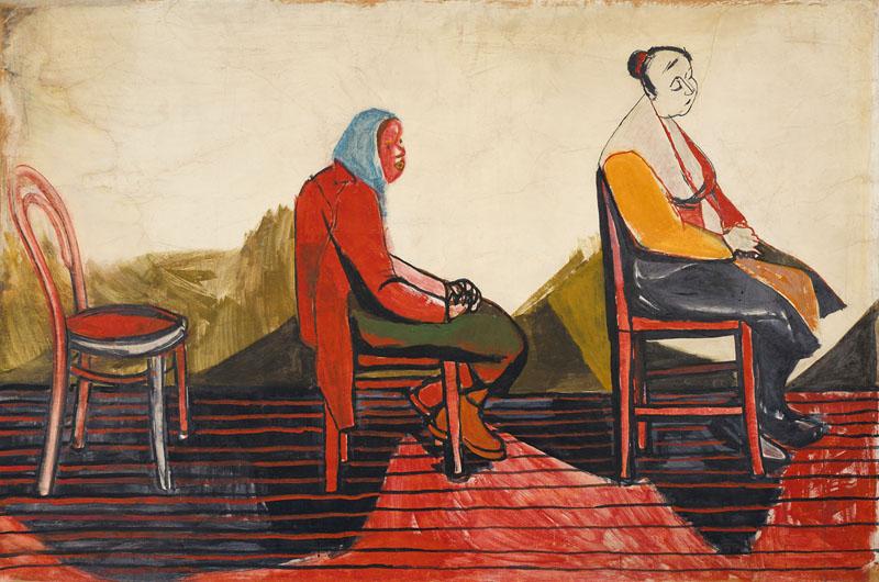 """""""Kolejka trwa""""; niedatowana; akwarela, gwasz, papier; 99.8 × 150.6 cm; kolekcja prywatna"""