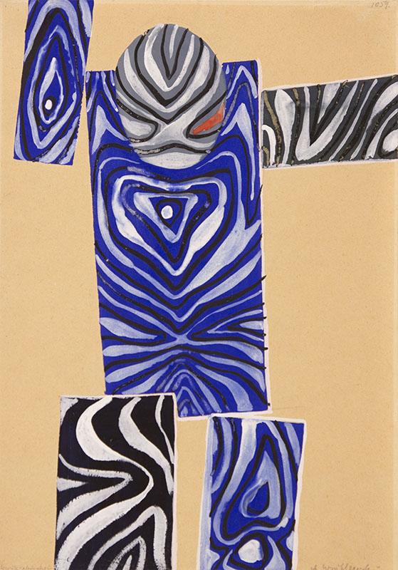 """(Abstract-Man)""; undated; gouache, paper; 42 × 29.6 cm; Starak Collection"