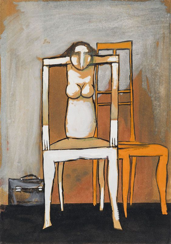 """""""(Chaired Woman II)""""; undated; gouache, paper; 41.6 × 29.3 cm; private collection"""