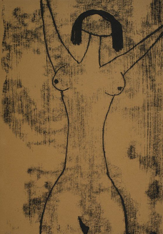 """""""(Girl Nude)""""; undated; monotype, paper; 41.9 × 29.3 cm; private collection"""
