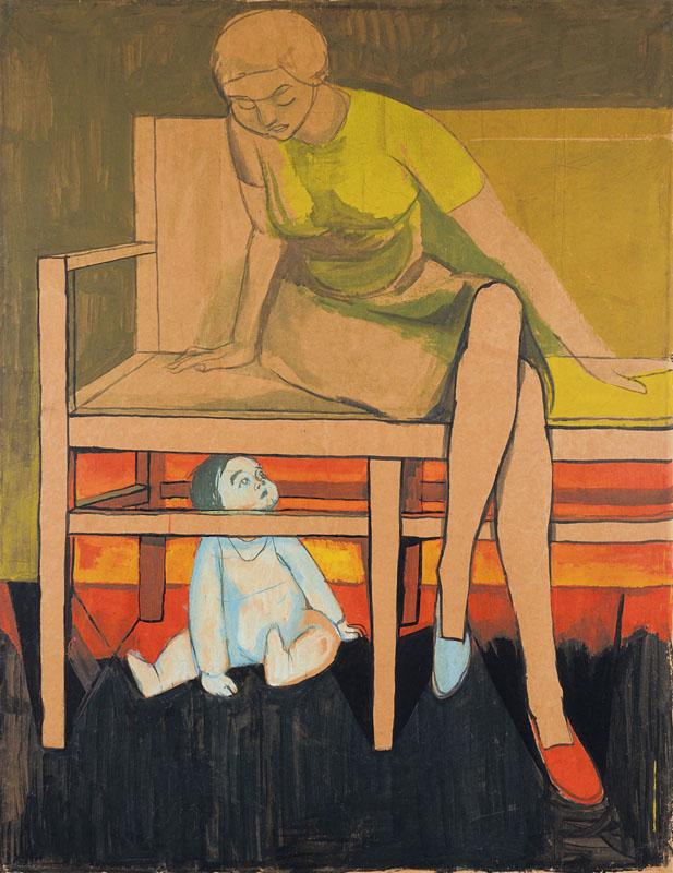"""(Kitek under a Chair)""; undated; watercolor, gouache, paper; 127 × 100 cm; private collection"