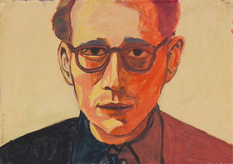 """(Self-Portrait in Red)""; undated; watercolor, gouache, paper; 
