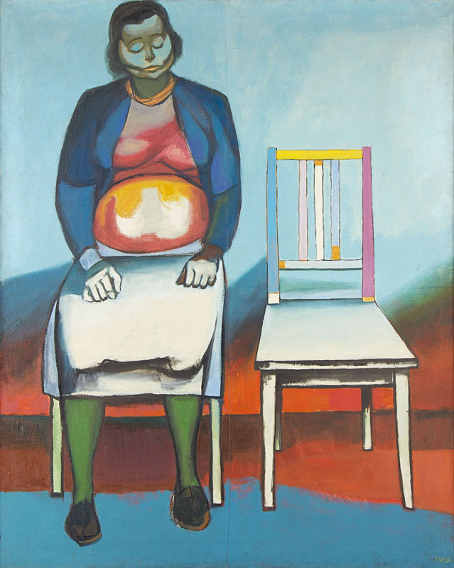 """Waiting Room II, (Chairing I)""; 1956; oil, paper; 155 × 125 cm; National Museum, Kraków"