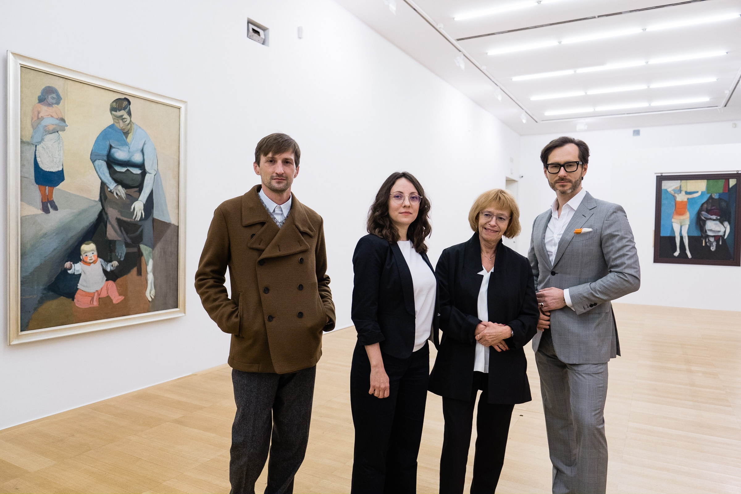 Marko Jenko (curator of the exhibition), Magdalena Ziółkowska (curator of the exhibition), Marta Wróblewska (daughter of Andrzej Wróblewski) and Wojciech Grzybała (curator of the exhibition)